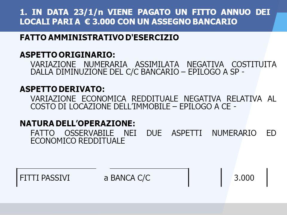 1. IN DATA 23/1/n VIENE PAGATO UN FITTO ANNUO DEI LOCALI PARI A € 3