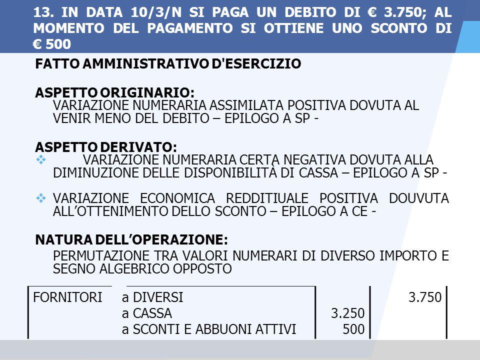 13. IN DATA 10/3/N SI PAGA UN DEBITO DI € 3