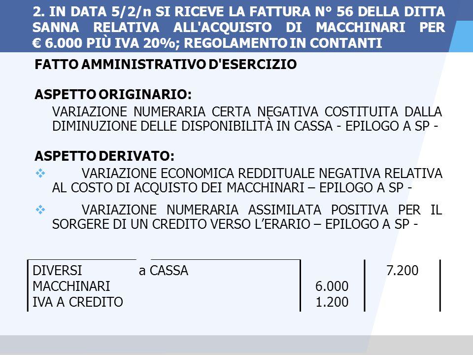 2. IN DATA 5/2/n SI RICEVE LA FATTURA N° 56 DELLA DITTA SANNA RELATIVA ALL ACQUISTO DI MACCHINARI PER € 6.000 PIÙ IVA 20%; REGOLAMENTO IN CONTANTI