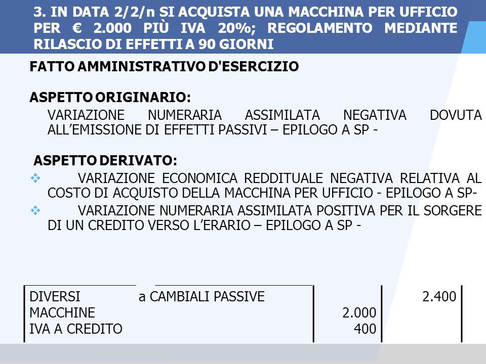 3. IN DATA 2/2/n SI ACQUISTA UNA MACCHINA PER UFFICIO PER € 2