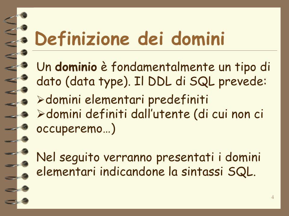 Definizione dei domini