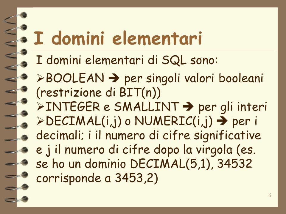 I domini elementari I domini elementari di SQL sono: