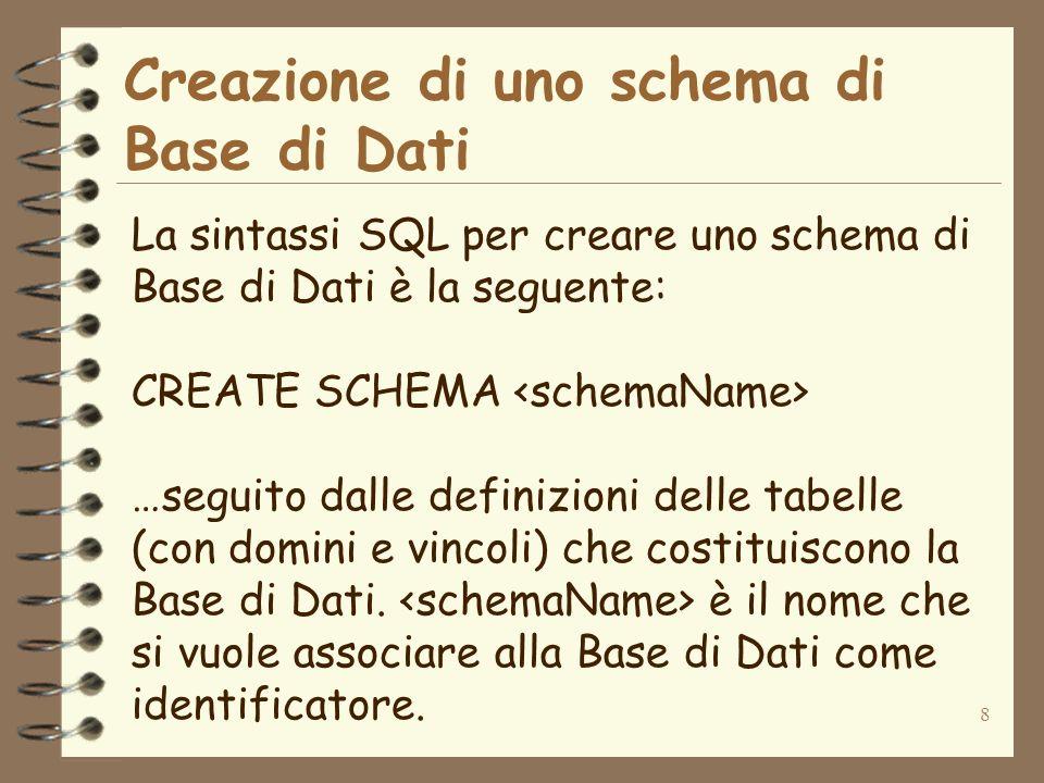 Creazione di uno schema di Base di Dati
