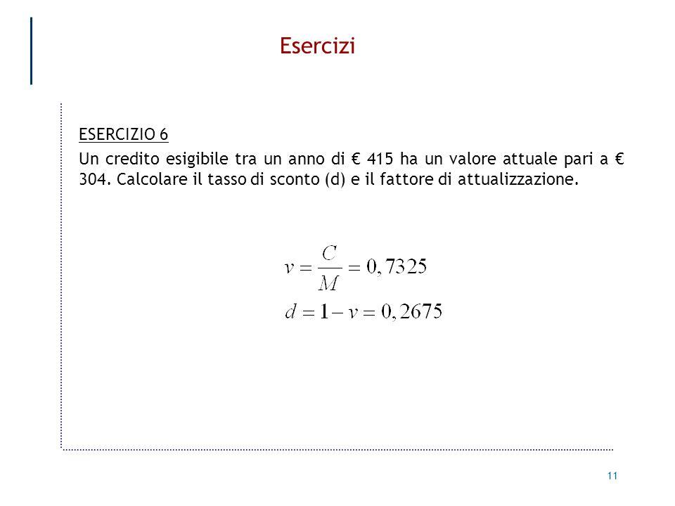 Esercizi ESERCIZIO 6.