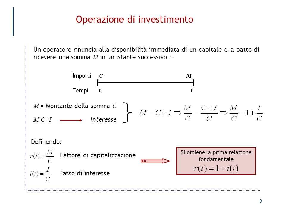 Operazione di investimento