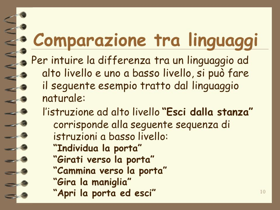 Comparazione tra linguaggi