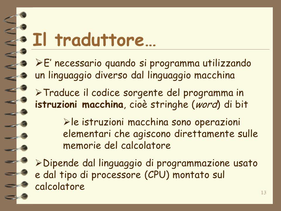 Il traduttore…E' necessario quando si programma utilizzando un linguaggio diverso dal linguaggio macchina.