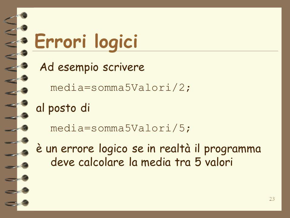 Errori logici Ad esempio scrivere media=somma5Valori/2; al posto di