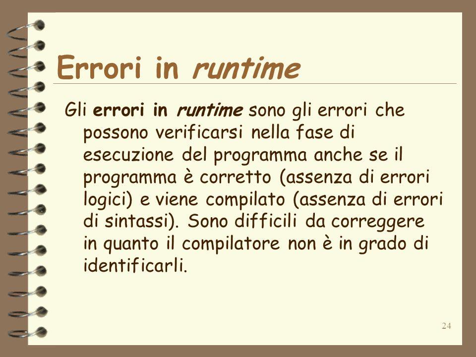 Errori in runtime