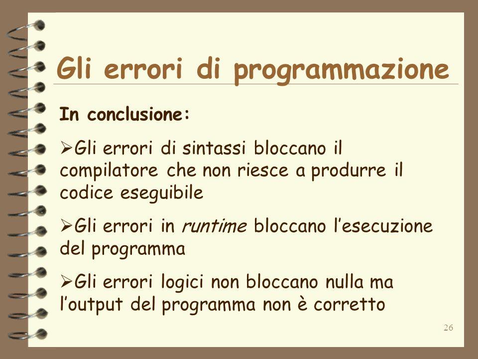 Gli errori di programmazione