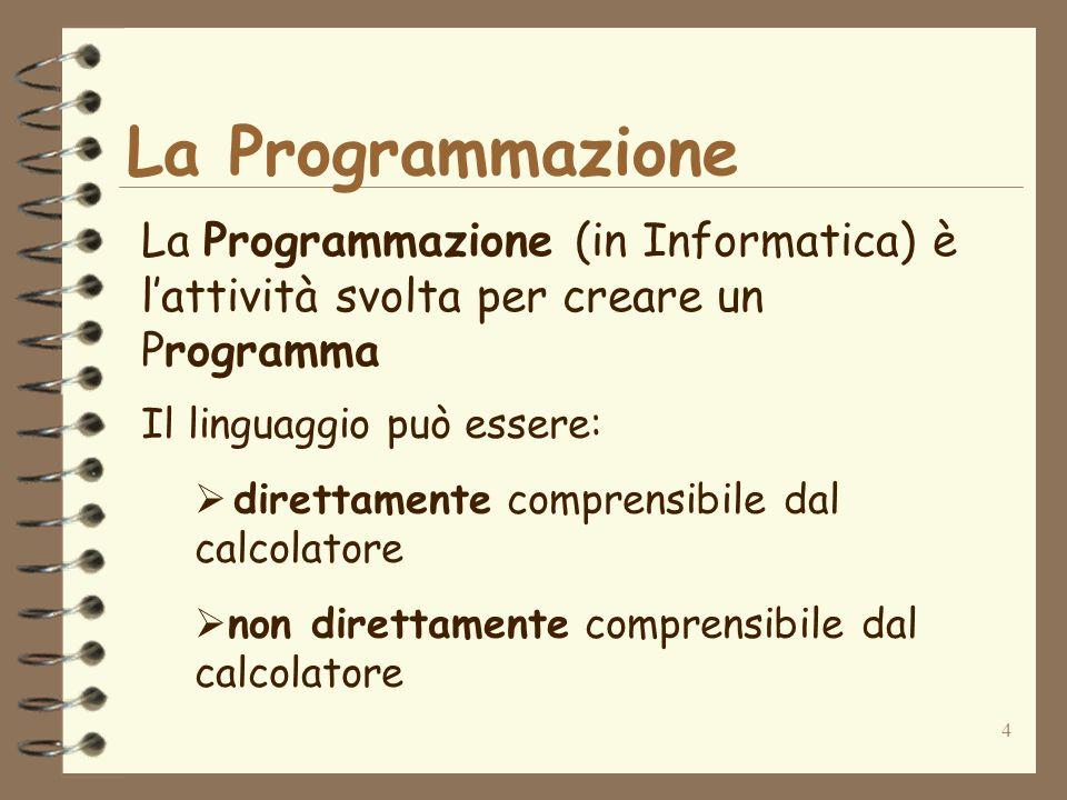 La Programmazione La Programmazione (in Informatica) è l'attività svolta per creare un Programma. Il linguaggio può essere: