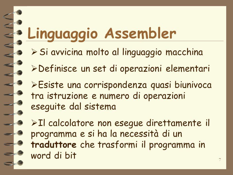 Linguaggio Assembler Si avvicina molto al linguaggio macchina