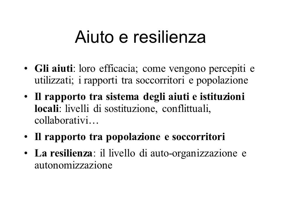 Aiuto e resilienza Gli aiuti: loro efficacia; come vengono percepiti e utilizzati; i rapporti tra soccorritori e popolazione.