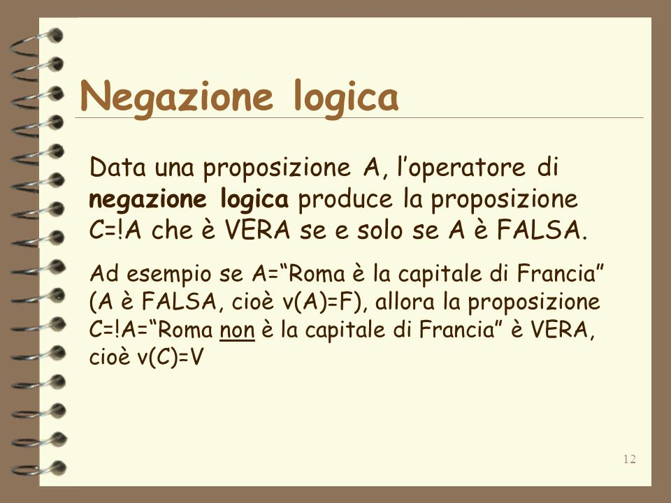Negazione logica Data una proposizione A, l'operatore di negazione logica produce la proposizione C=!A che è VERA se e solo se A è FALSA.