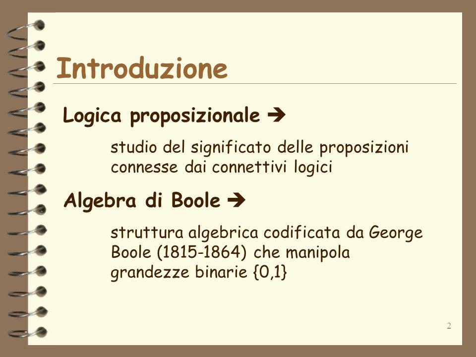 Introduzione Logica proposizionale  Algebra di Boole 