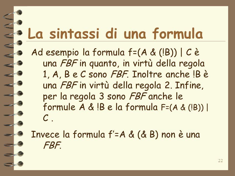 La sintassi di una formula