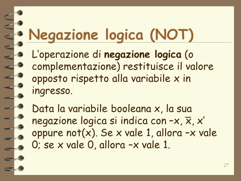 Negazione logica (NOT)