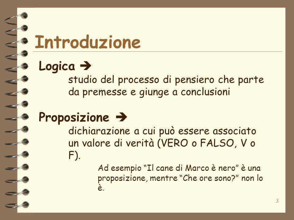 Introduzione Logica  Proposizione 