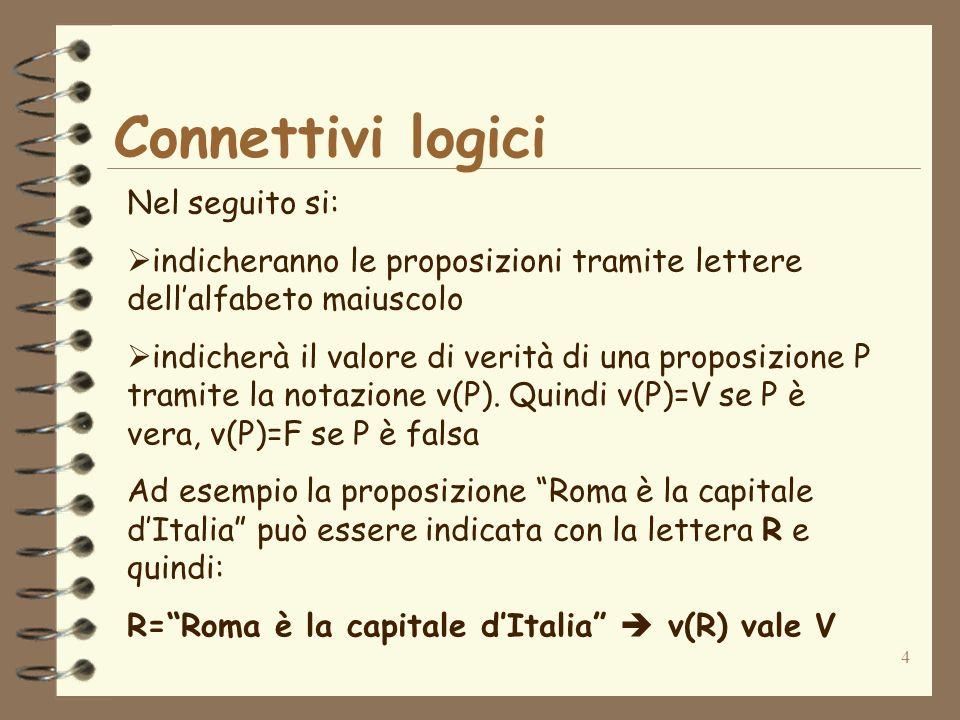 Connettivi logici Nel seguito si:
