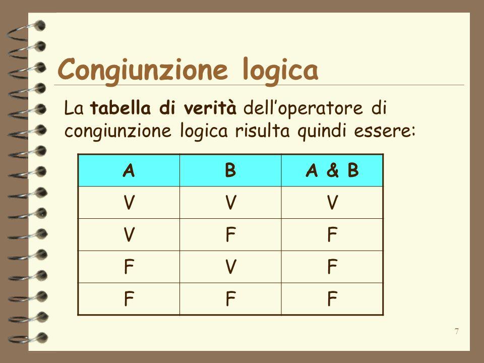 Congiunzione logica La tabella di verità dell'operatore di congiunzione logica risulta quindi essere: