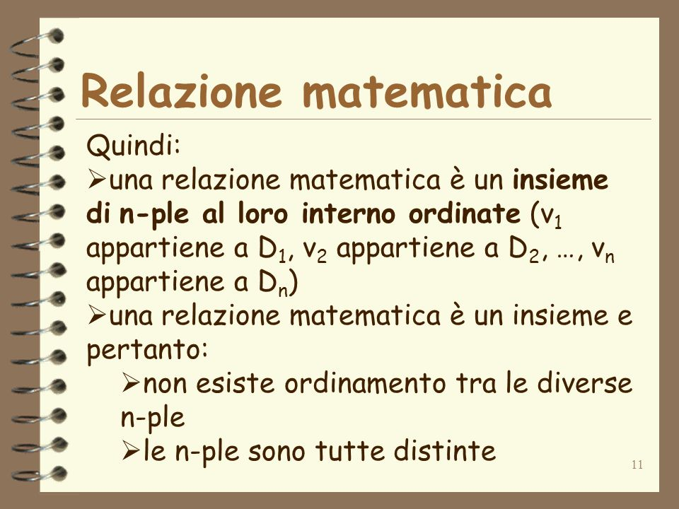 Relazione matematica Quindi:
