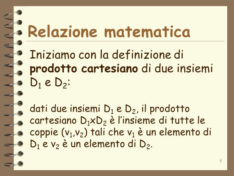 Relazione matematica Iniziamo con la definizione di prodotto cartesiano di due insiemi D1 e D2: