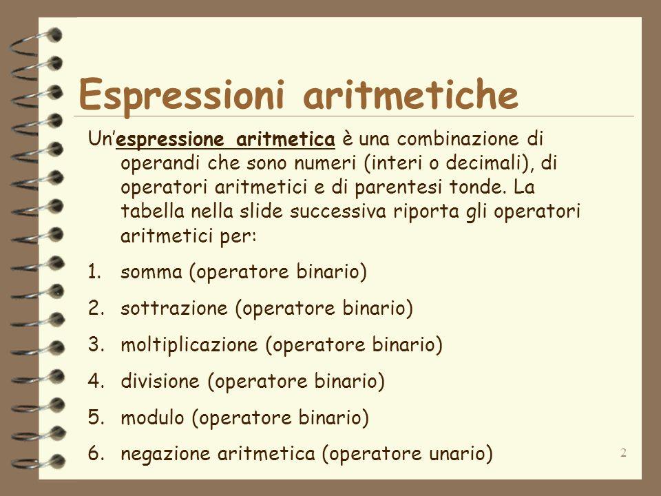 Espressioni aritmetiche
