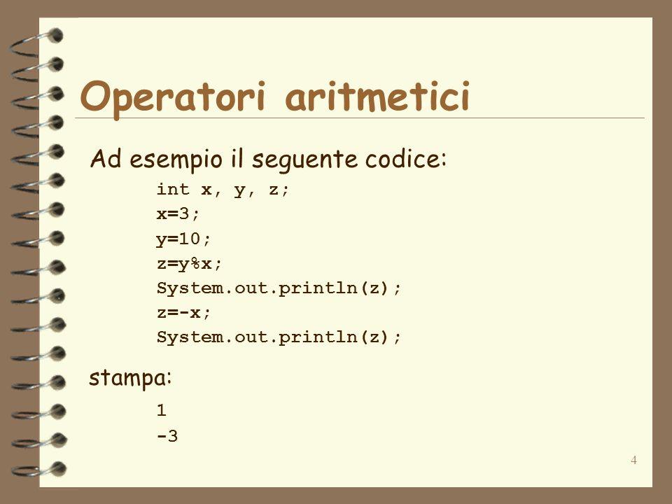Operatori aritmetici Ad esempio il seguente codice: stampa: 1