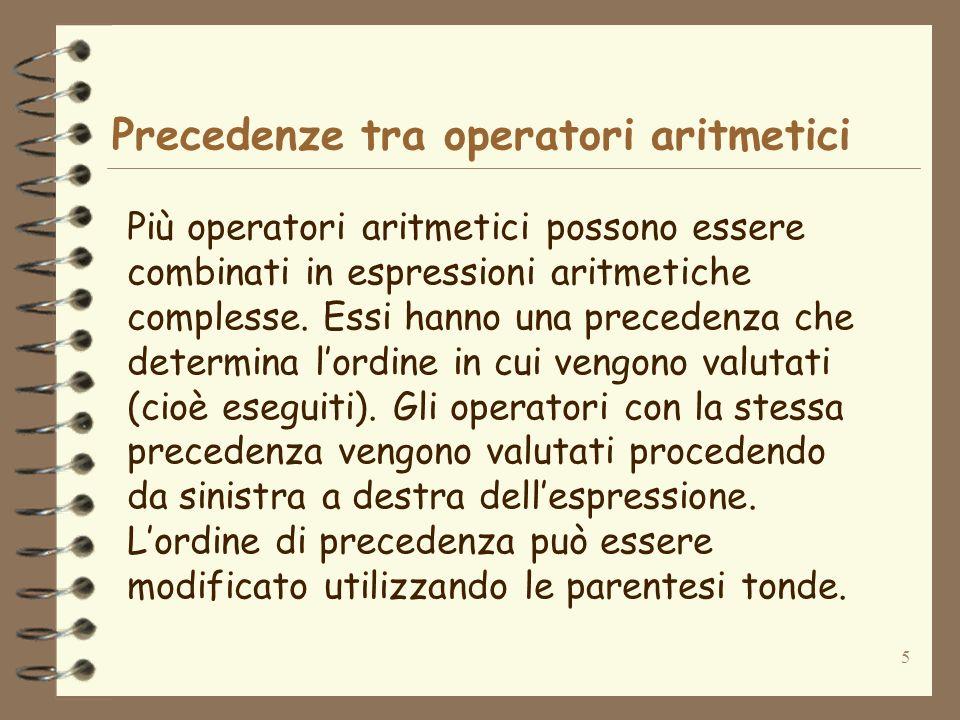 Precedenze tra operatori aritmetici