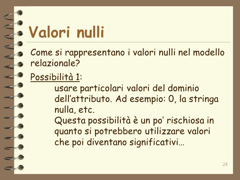 Valori nulli Come si rappresentano i valori nulli nel modello relazionale Possibilità 1:
