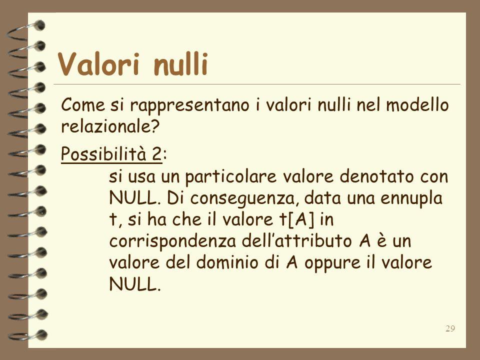 Valori nulli Come si rappresentano i valori nulli nel modello relazionale Possibilità 2: