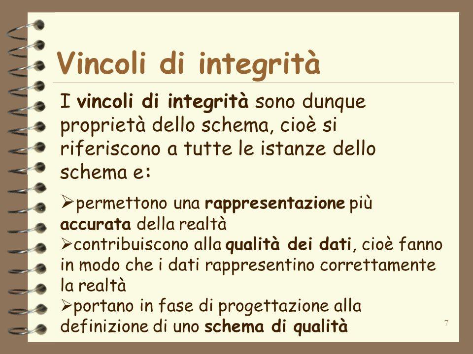 Vincoli di integrità I vincoli di integrità sono dunque proprietà dello schema, cioè si riferiscono a tutte le istanze dello schema e: