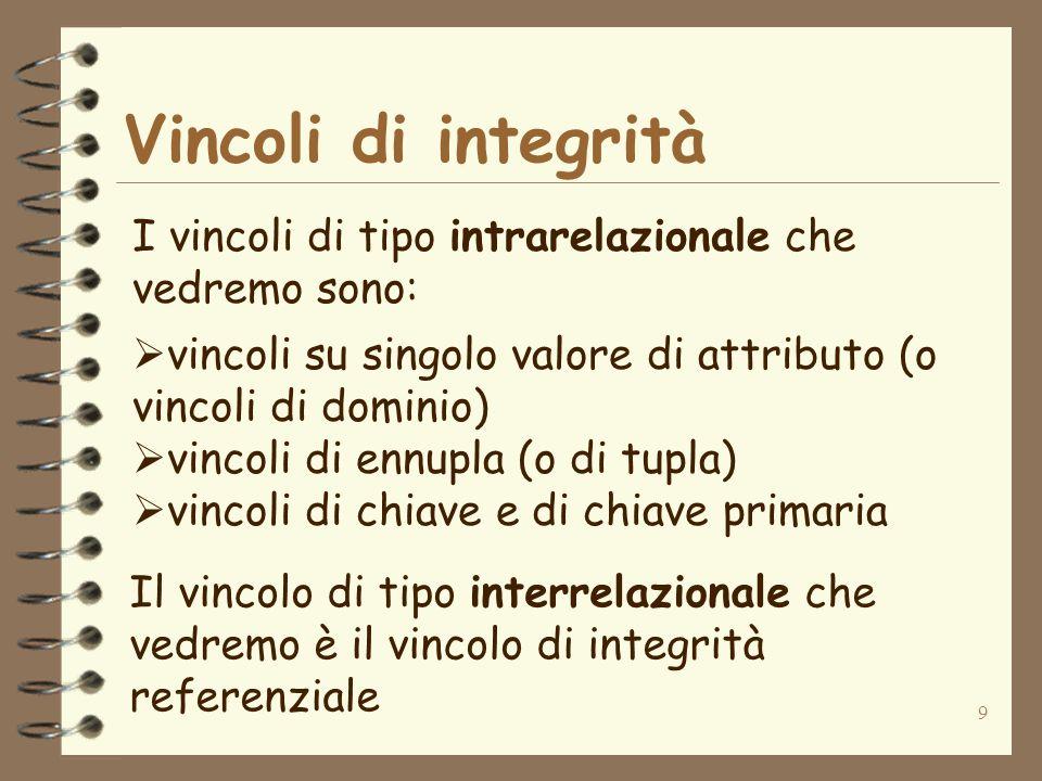 Vincoli di integrità I vincoli di tipo intrarelazionale che vedremo sono: vincoli su singolo valore di attributo (o vincoli di dominio)
