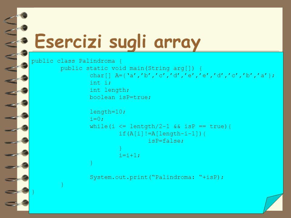 Esercizi sugli array public class Palindroma {
