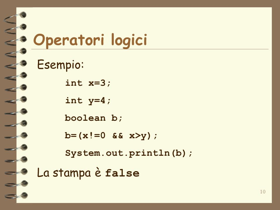 Operatori logici Esempio: La stampa è false int x=3; int y=4;