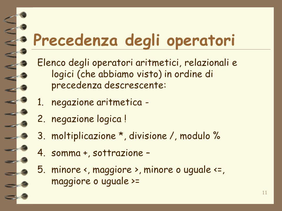 Precedenza degli operatori