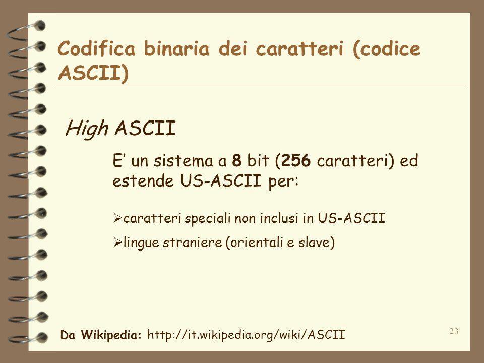 Codifica binaria dei caratteri (codice ASCII)