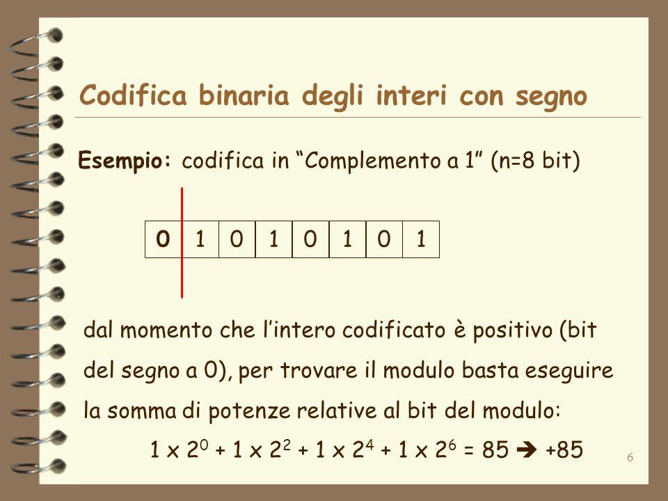 Codifica binaria degli interi con segno