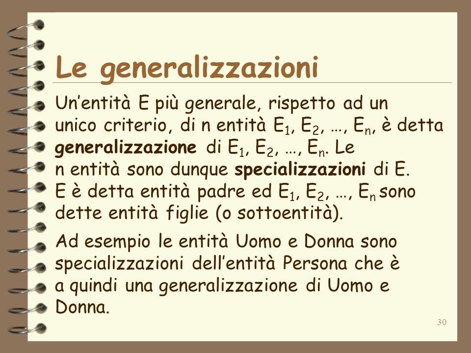 Le generalizzazioni Un'entità E più generale, rispetto ad un