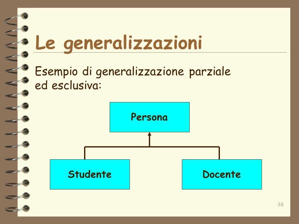Le generalizzazioni Esempio di generalizzazione parziale ed esclusiva: