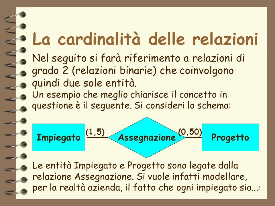 La cardinalità delle relazioni