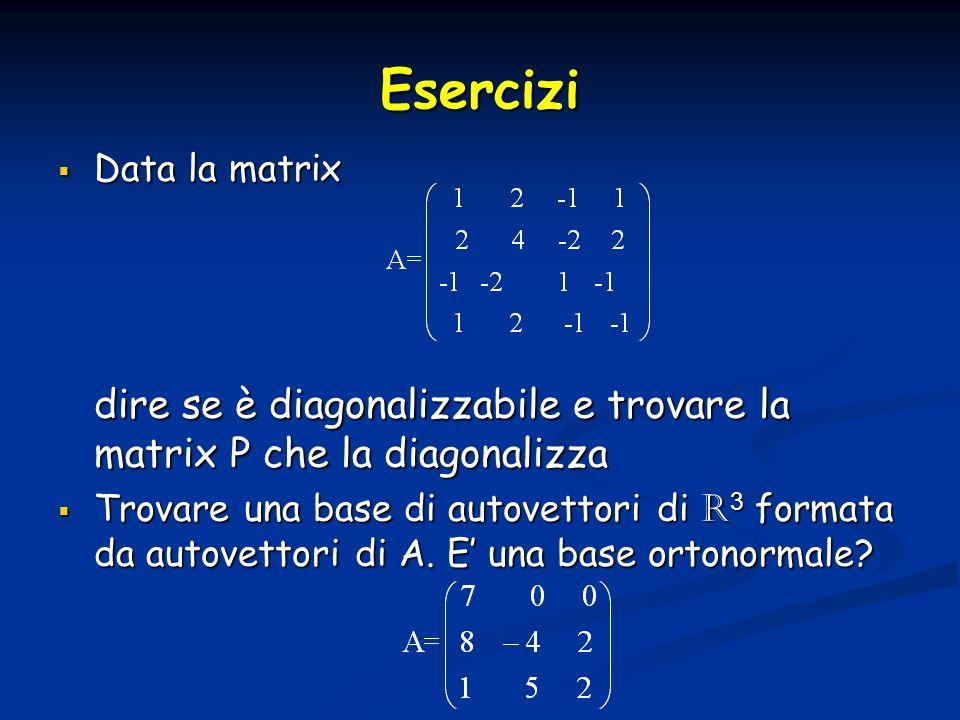 EserciziData la matrix. dire se è diagonalizzabile e trovare la matrix P che la diagonalizza.