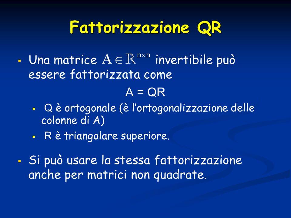 Fattorizzazione QR Una matrice invertibile può essere fattorizzata come. A = QR.