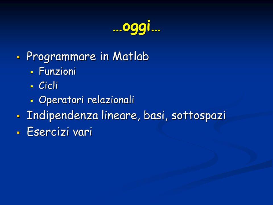 …oggi… Programmare in Matlab Indipendenza lineare, basi, sottospazi