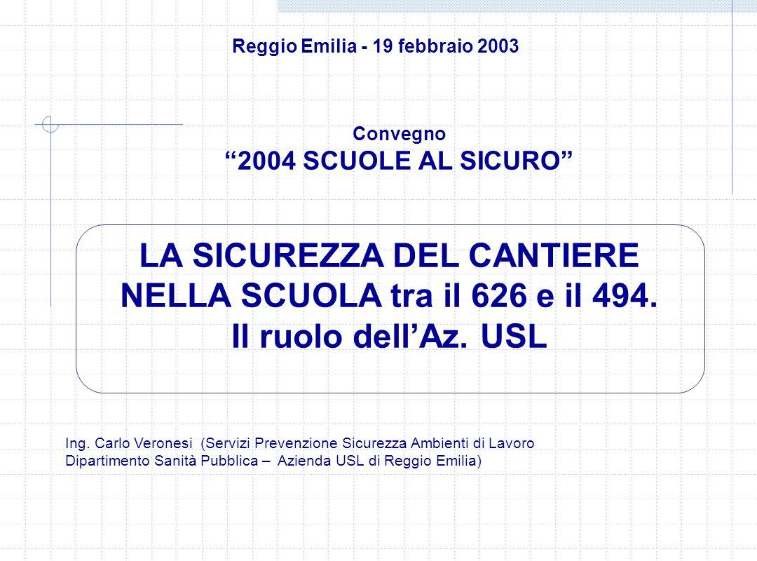 Reggio Emilia - 19 febbraio 2003 LA SICUREZZA DEL CANTIERE