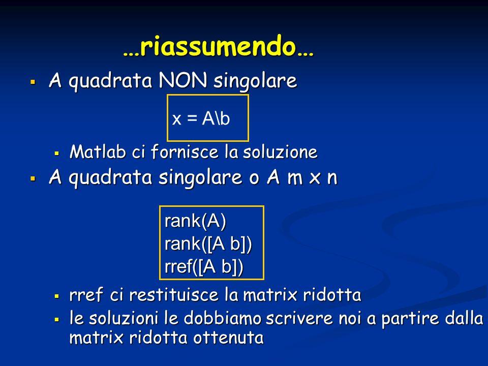 …riassumendo… A quadrata NON singolare A quadrata singolare o A m x n