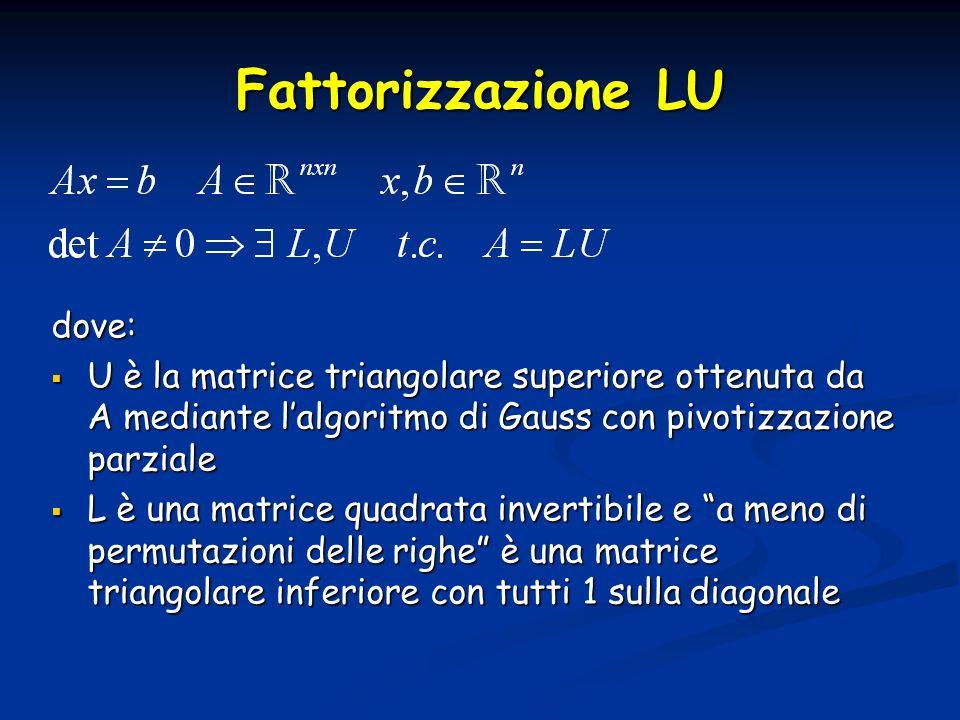 Fattorizzazione LU dove: