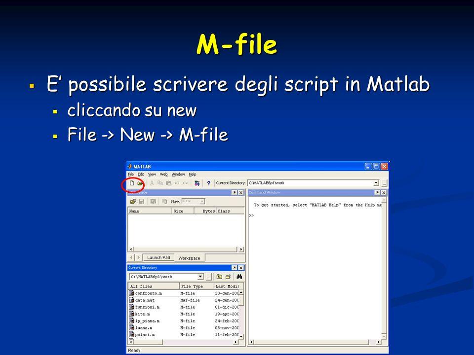 M-file E' possibile scrivere degli script in Matlab cliccando su new