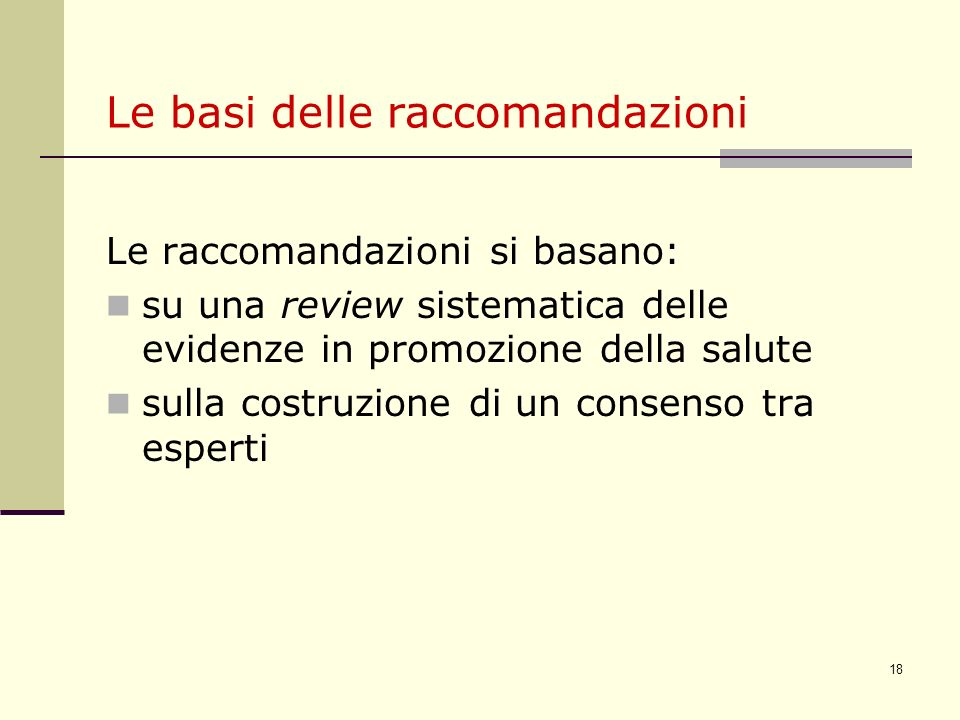 Le basi delle raccomandazioni