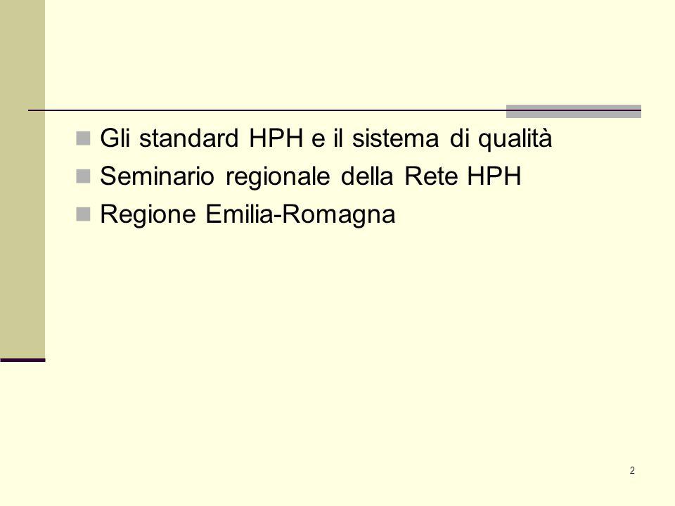 Gli standard HPH e il sistema di qualità